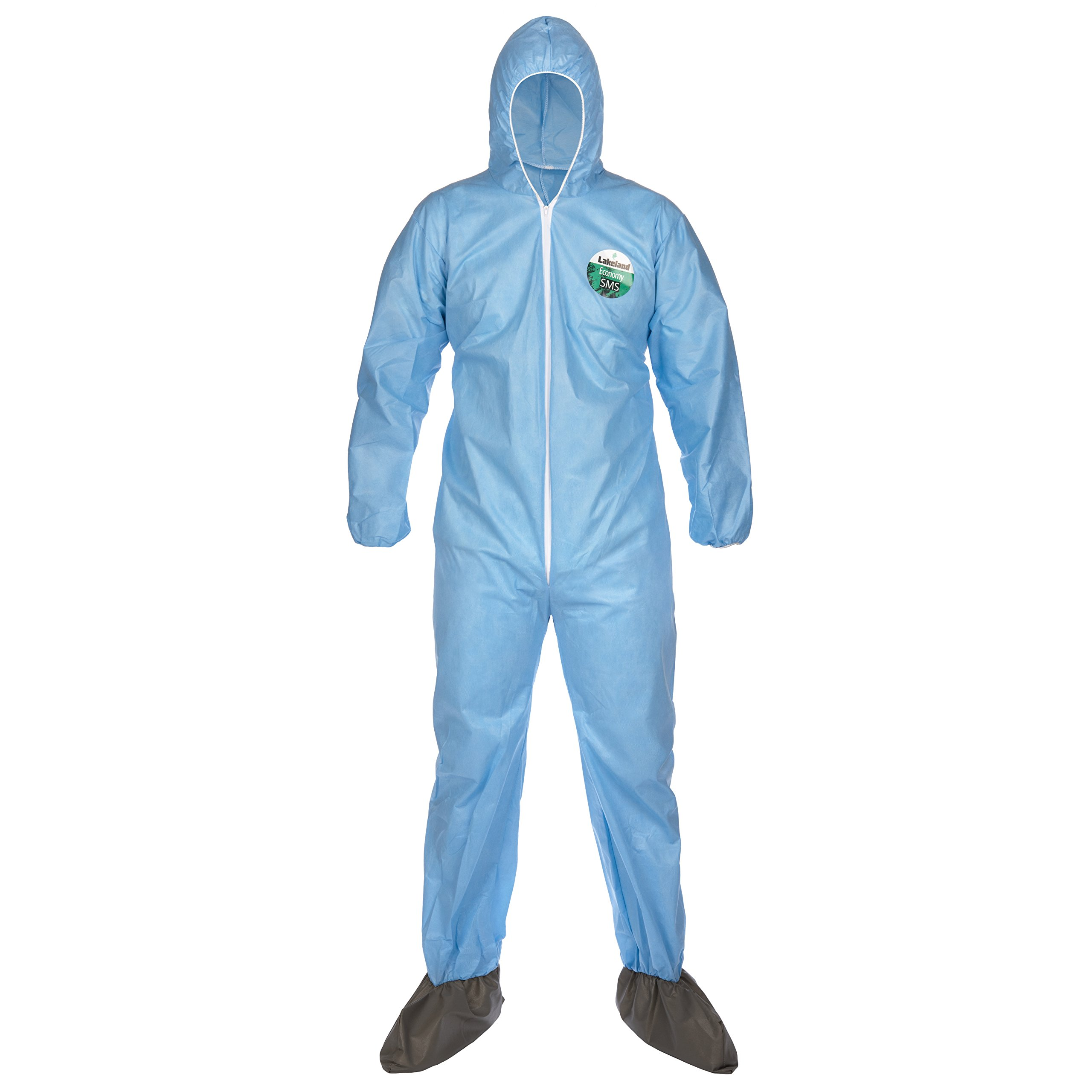 Lakeland SafeGard Economy SMS Coverall with Hood and Boots, Disposable, Elastic Cuff, 3X-Large, Blue (Case of 25)