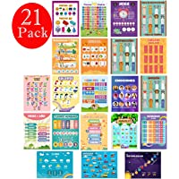 21 Large Spanish Educational Posters for Kids, Preschool, Homeschool, and Elementary Classroom Displays, Double Side Laminated Teach Numbers, Colors, Animals, Letters, Weather, Time and More