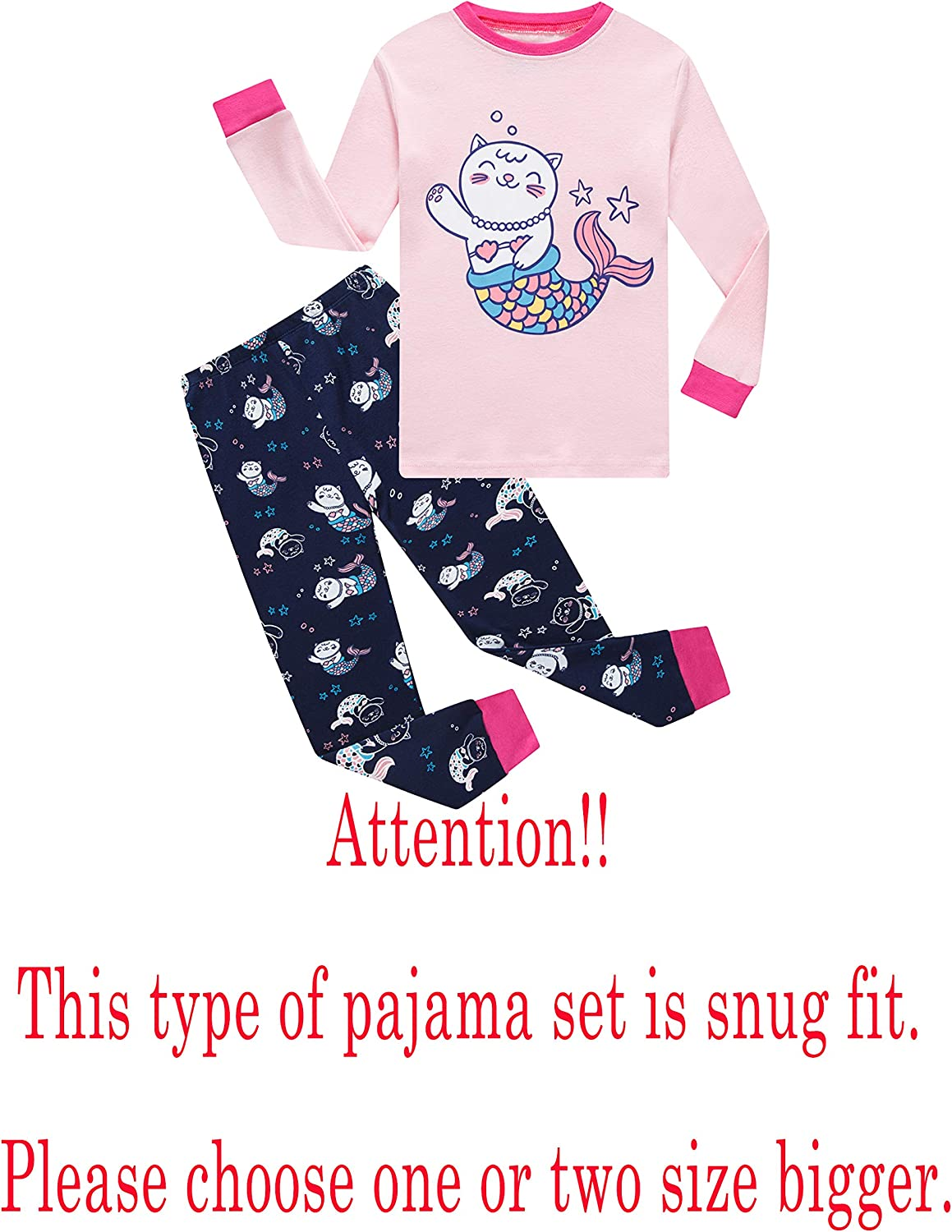 Family Feeling Zebra Little and Big Girls 2 Piece 100/% Cotton Pajamas Sets Kids Pjs