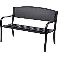 Outsunny Banc 3 Places de Jardin terrasse Style Contemporain 127L x 60l x 85H cm métal époxy anticorrosion Noir