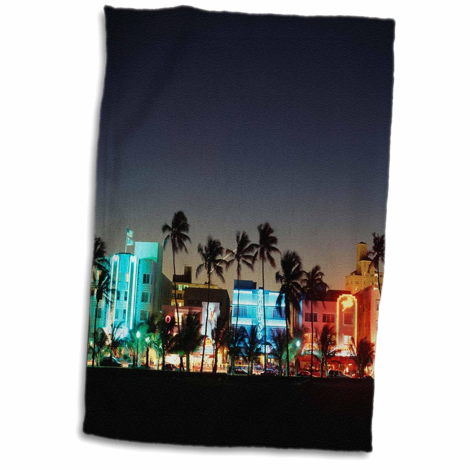 3D Rose USA Florida Miami Beach Ocean Drive Art Deco Hotels at Dusk. TWL_192146_1 Towel, 15'' x 22''