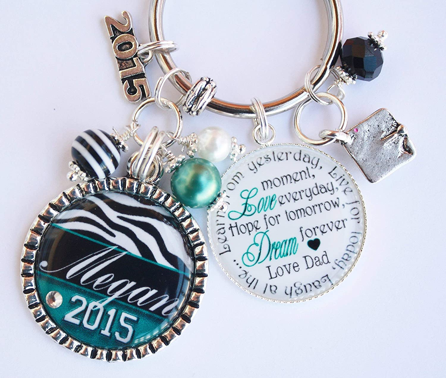 Personalized 2020 Graduation Gift Keychain High School College Grad YOUR CHOICE OF COLOR and YEAR CHARM