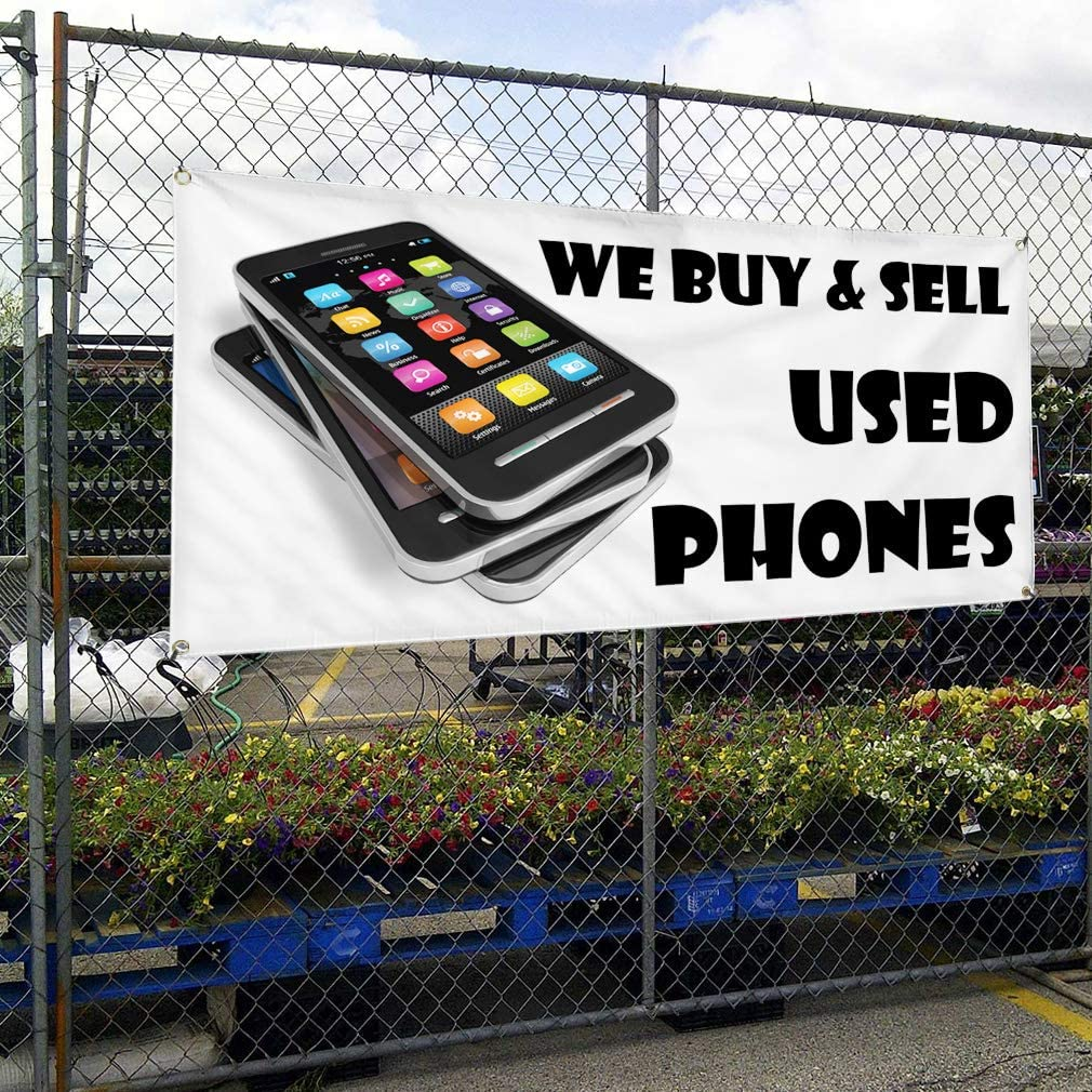 Vinyl Banner Multiple Sizes We Buy /& Sell Used Phones Business Retail Outdoor Weatherproof Industrial Yard Signs White 10 Grommets 60x144Inches
