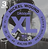 D'Addario EXL115-3D Nickel Wound Electric Guitar Strings, 3 Sets, Medium/Blues-Jazz Rock, 11-49, 3 Sets