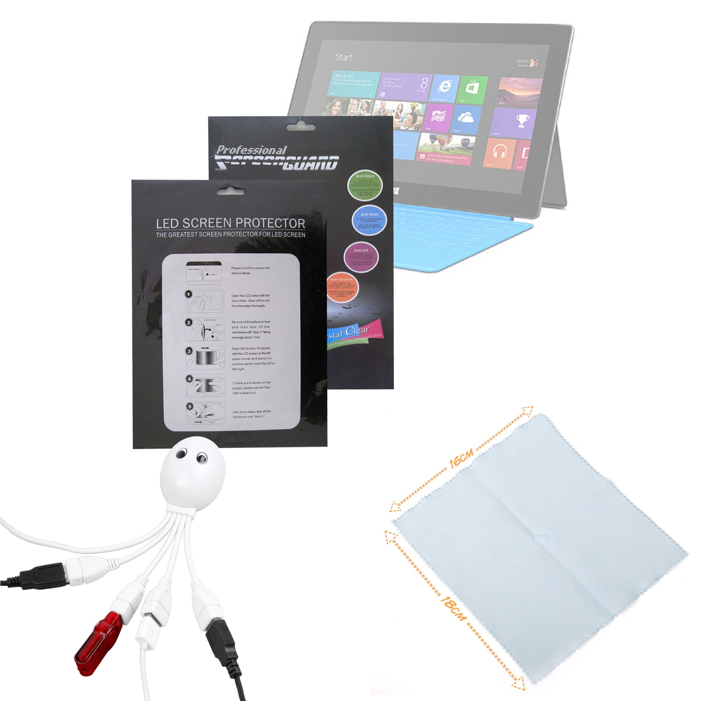 DURAGADGET Microsoft Surface Windows RT Tablet Accessory Kit: High Quality Microsoft Surface (8GB, 16GB, 32GB, 64GB, 128GB) 10.6'' Clear Screen Protector Guard + BONUS : Cleaning Cloth + Octopus USB Hub