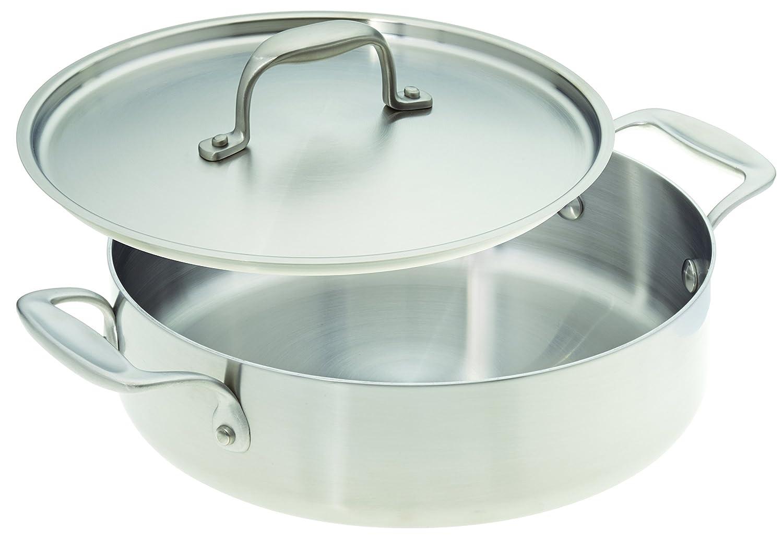 American Kitchen Cookware Stainless Steel Casserole Pan with Lid (25cm)   B07DPSZSGK