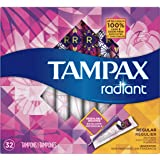Tampax Radiant Tampons with Plastic Applicator, Regular Absorbency, Unscented, 32 Count (Packaging May Vary)