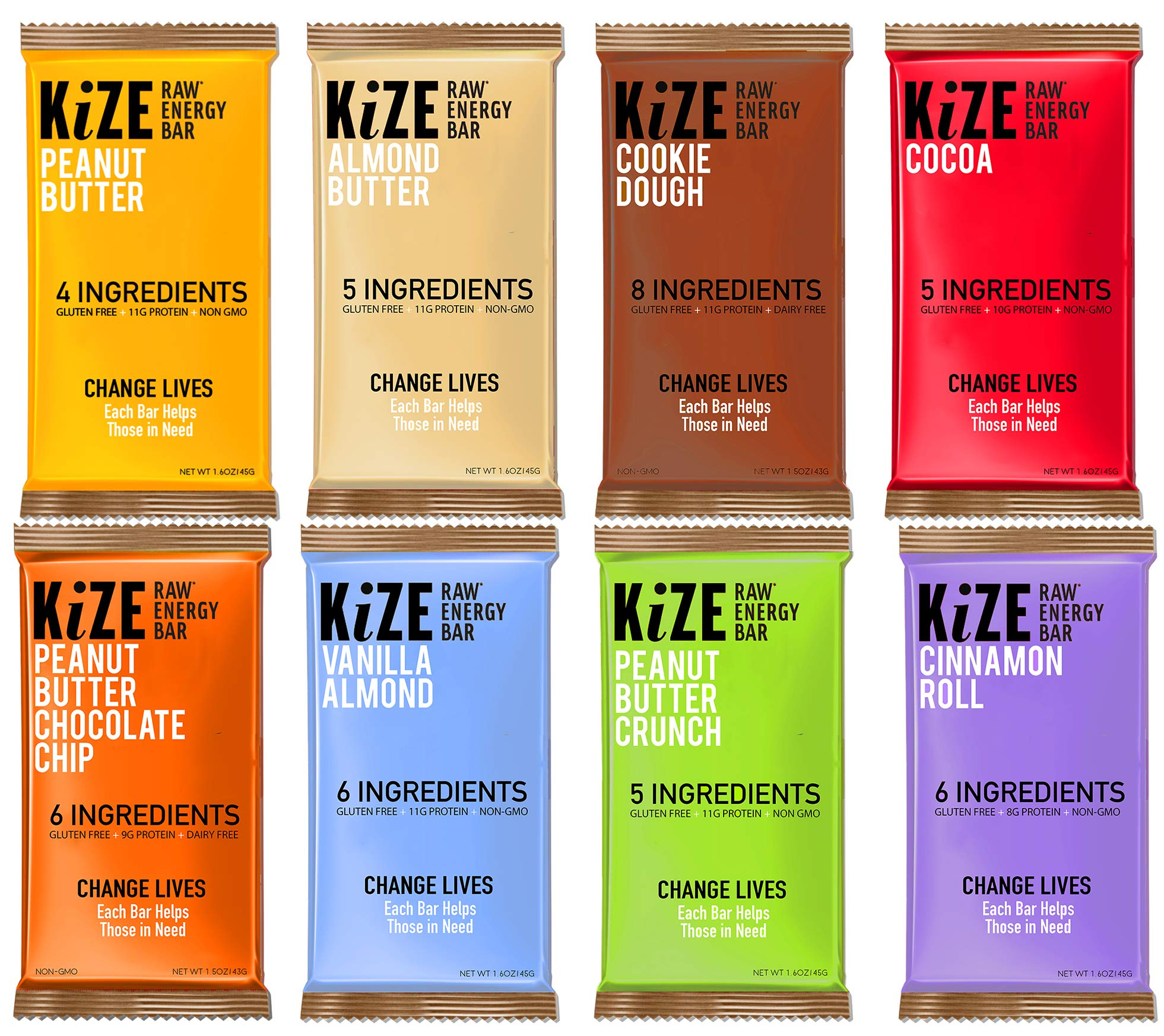 KiZE - (10 Pack) Raw Energy Bars - 7 Flavor Variety Pack - Non GMO, Gluten Free, No Added Sugar, Bulletproof by Kize