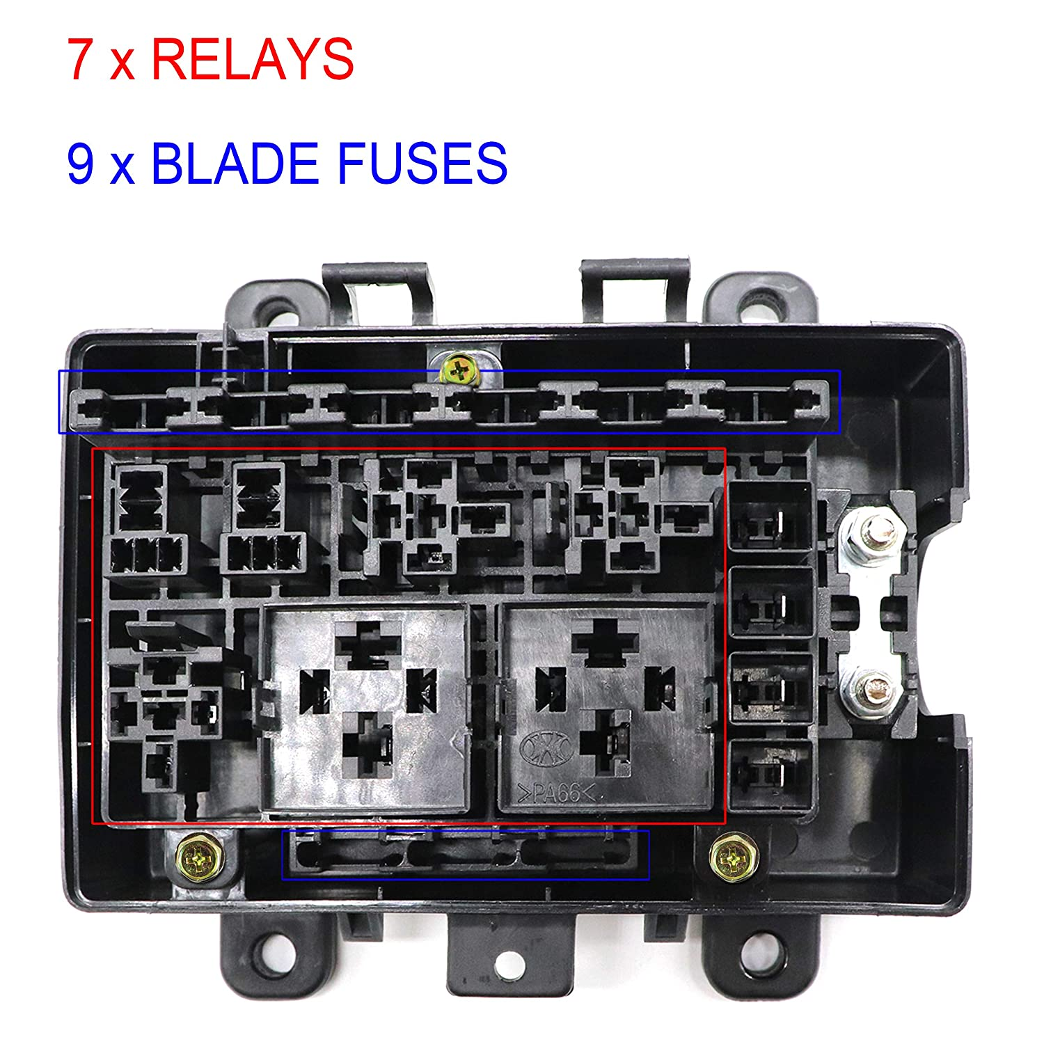 21-slot relay fuse box- relay ato/atc fuse holder with relays and