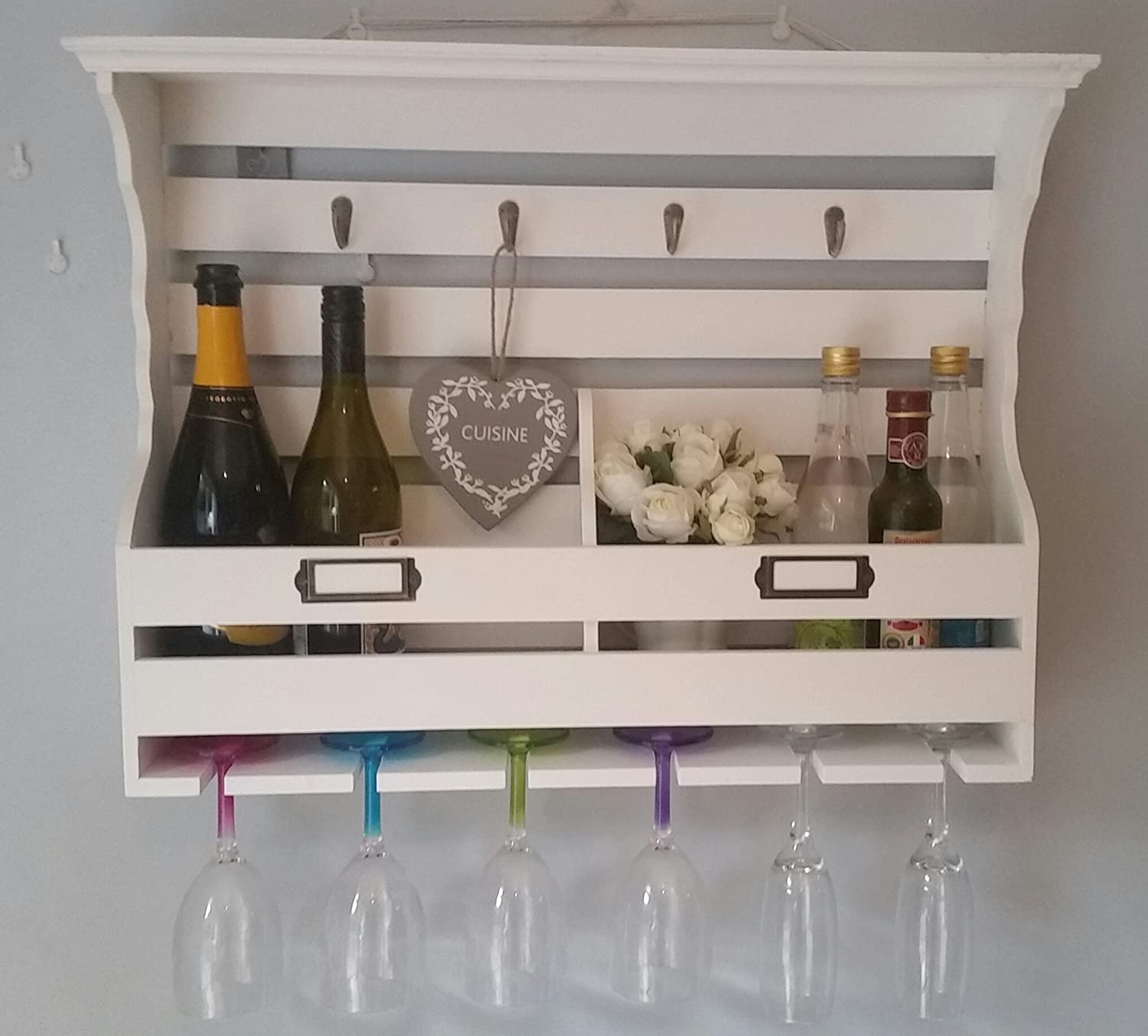 ECP Design SHABBY CHIC STORAGE CABINET WINE GLASS BOTTLE HOLDER, HOOKS SHELF