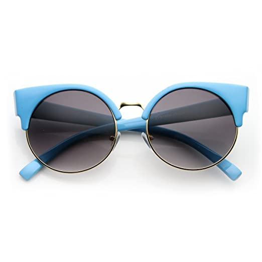 3699a0e67b Image Unavailable. Image not available for. Color  Round Circle Half Frame  Semi-Rimless Cateye Sunglasses (Blue)