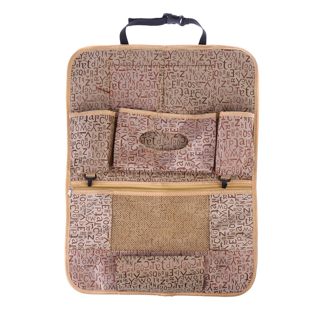 Oxford Cloth Multi-Pocket Back Seat Storage Car Seat Cover Organizer Car Organizer Bag (Khaki) VORCOOL