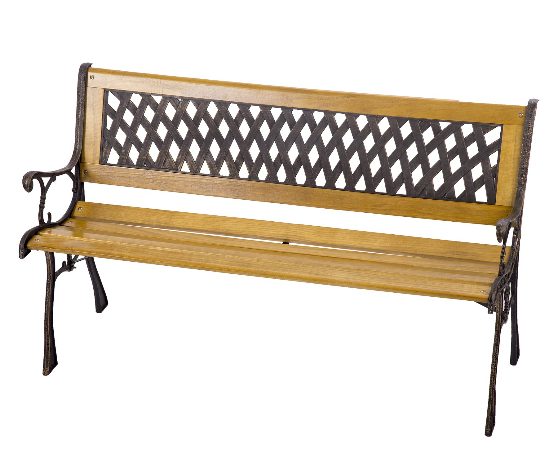 Garden Bench Patio Porch Chair Deck Hardwood Cast Iron Love Seat Best Massage by BMS (Image #3)