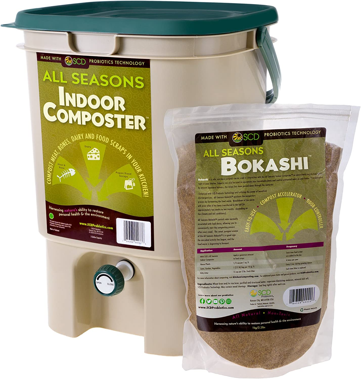 SCD Probiotics All Seasons Indoor Composter, Easy Start Countertop Kitchen Compost Bin with Bokashi - Easily Compost Indoors, Low Odor, Beginner Friendly - K100 Tan, 5 gal