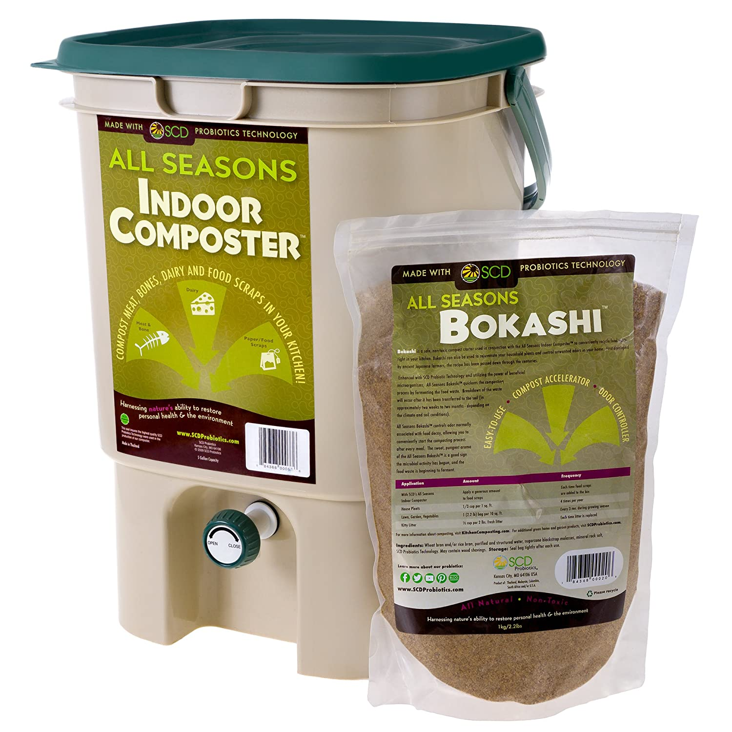 B003ANMBKQ SCD Probiotics All Seasons Indoor Composter, Easy Start Countertop Kitchen Compost Bin with Bokashi - Easily Compost Indoors, Low Odor, Beginner Friendly - K100 Tan, 5 gal 81is2BRFW2VL