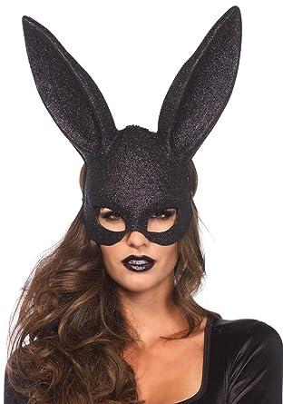 Leg Avenue 3760 - Glitter conejo mascarada máscara - un tamaño, negro