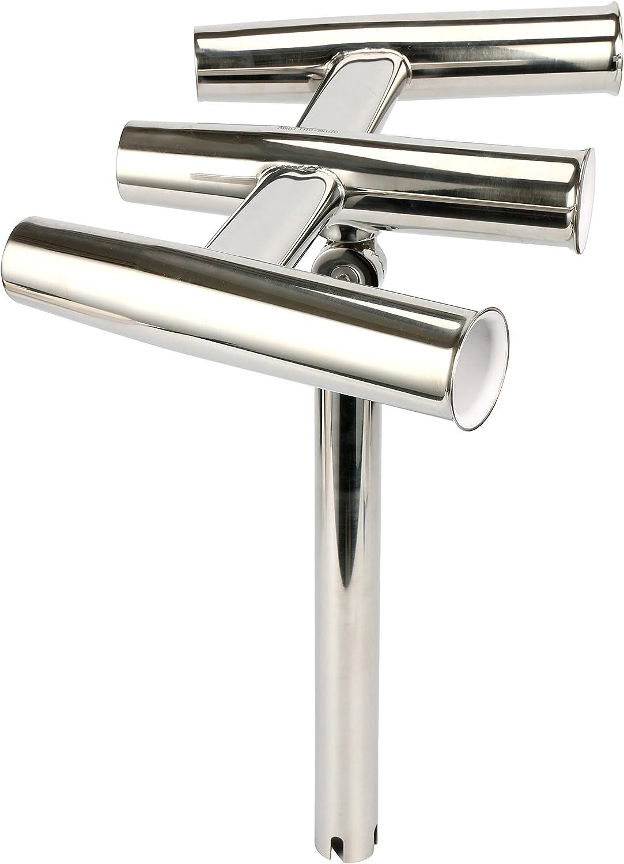 Amarine Made Silver Highly Polished Stainless Steel Trident Outrigger Stylish Rod Holder – Triple Rod Holder, Kite Fishing Gunnel Mount 3-Rod Holder