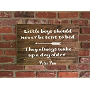 wonbye Wooden Signs with Sayings, Peter Pan Wood Sign, Kids Room Sign, Children's Sign, Nursery Wall Art, Rustic Kids Decor, Peter Pan Theme Room, Never Never Land Sign