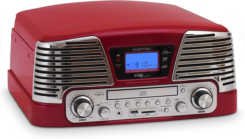 Bigben TD79RM - Tocadiscos de 3 velocidades (33/45/78 rpm), color ...