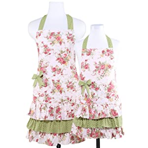 NEOVIVA Match Kitchen Aprons with Pocket for Mom and Daughter, Old Fashioned Frilly Mama and Me Apron Set for Cooking, Baking, BBQ and Gardening, Style Doris, Floral Quartz Pink