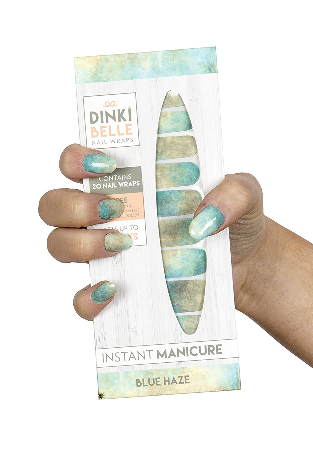 Blue Haze DinkiBelle Designer Nail Wraps in Blue Haze design includes 20 Nail Wraps - Long lasting, non toxic nailwraps in blue and green ombre design. Perfect gift or Stocking Filler
