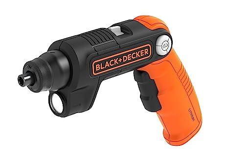 BLACK+DECKER BDCSFL20C-QW Atornillador con Batería de Litio, 5 NM, 180 RPM con linterna LED 35 lúmenes, incluye 2 puntas y cargador, 3.6 V