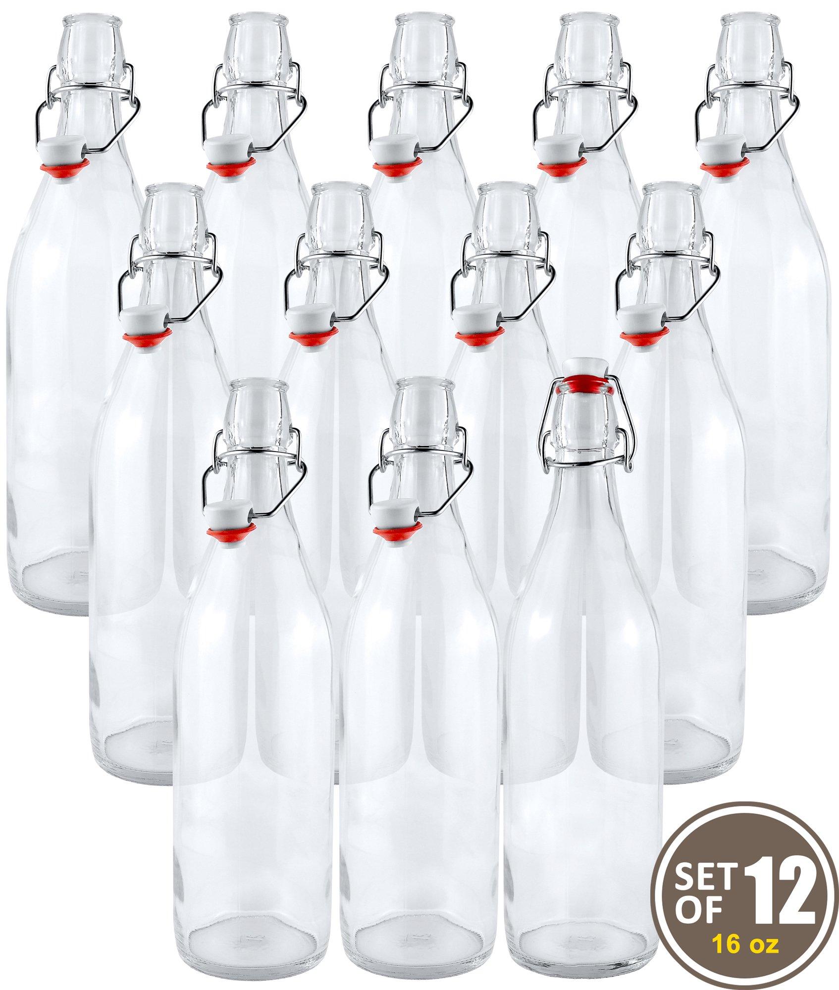 Estilo Swing Top Easy Cap Clear Glass Beer Bottles, Round, 16 oz, Set of 12 by Estilo