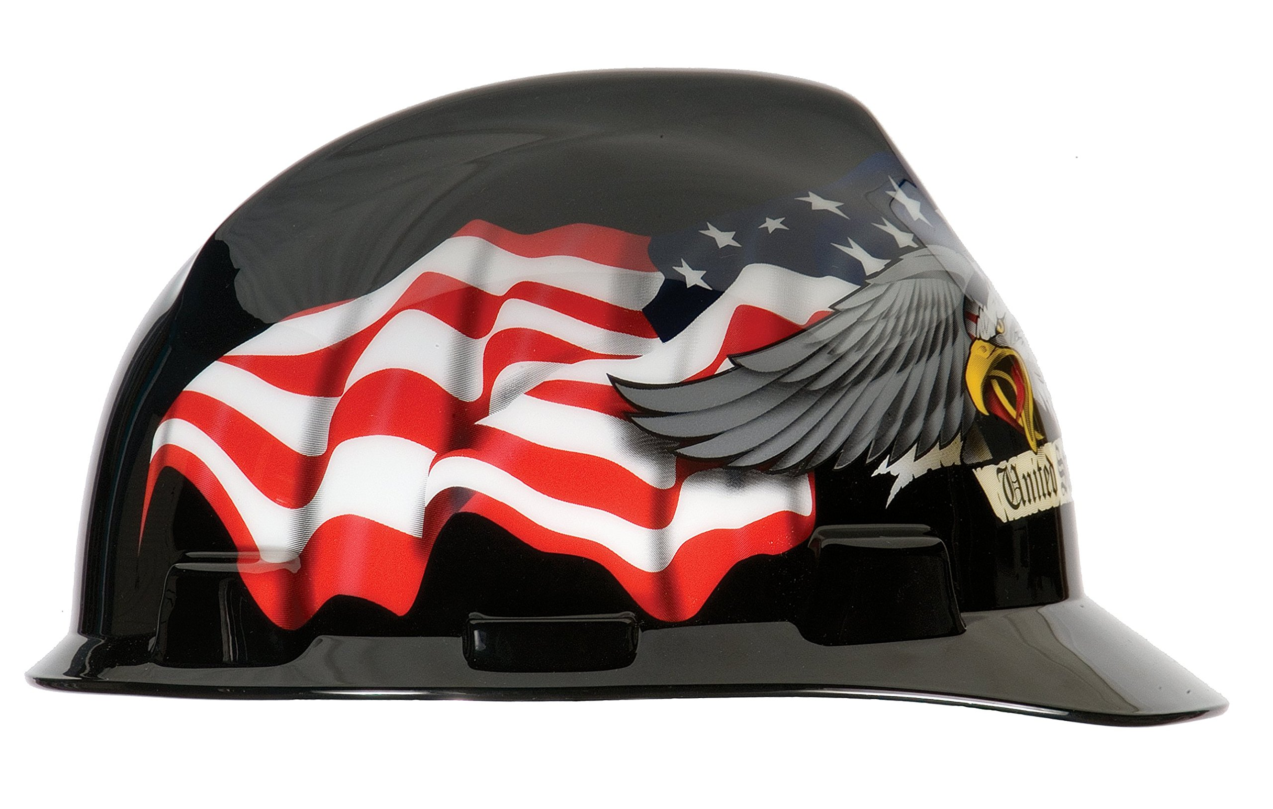 MSA 10079479 V-Gard Hard Hat Front Brim with Ratchet Suspension, Standard, American Eagle by MSA (Image #3)