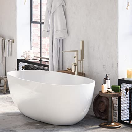 MAYKKE Barnet 61 Quot  Modern Oval Acrylic Bathtub Retains Heat White Freestanding Comfortable Soaking