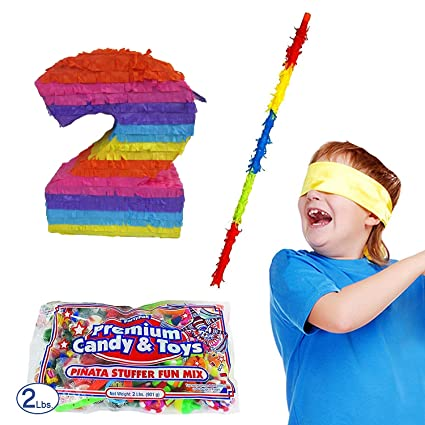 Amazon.com: Número 2 Piñata Kit incluyendo Piñata, 2 lb ...