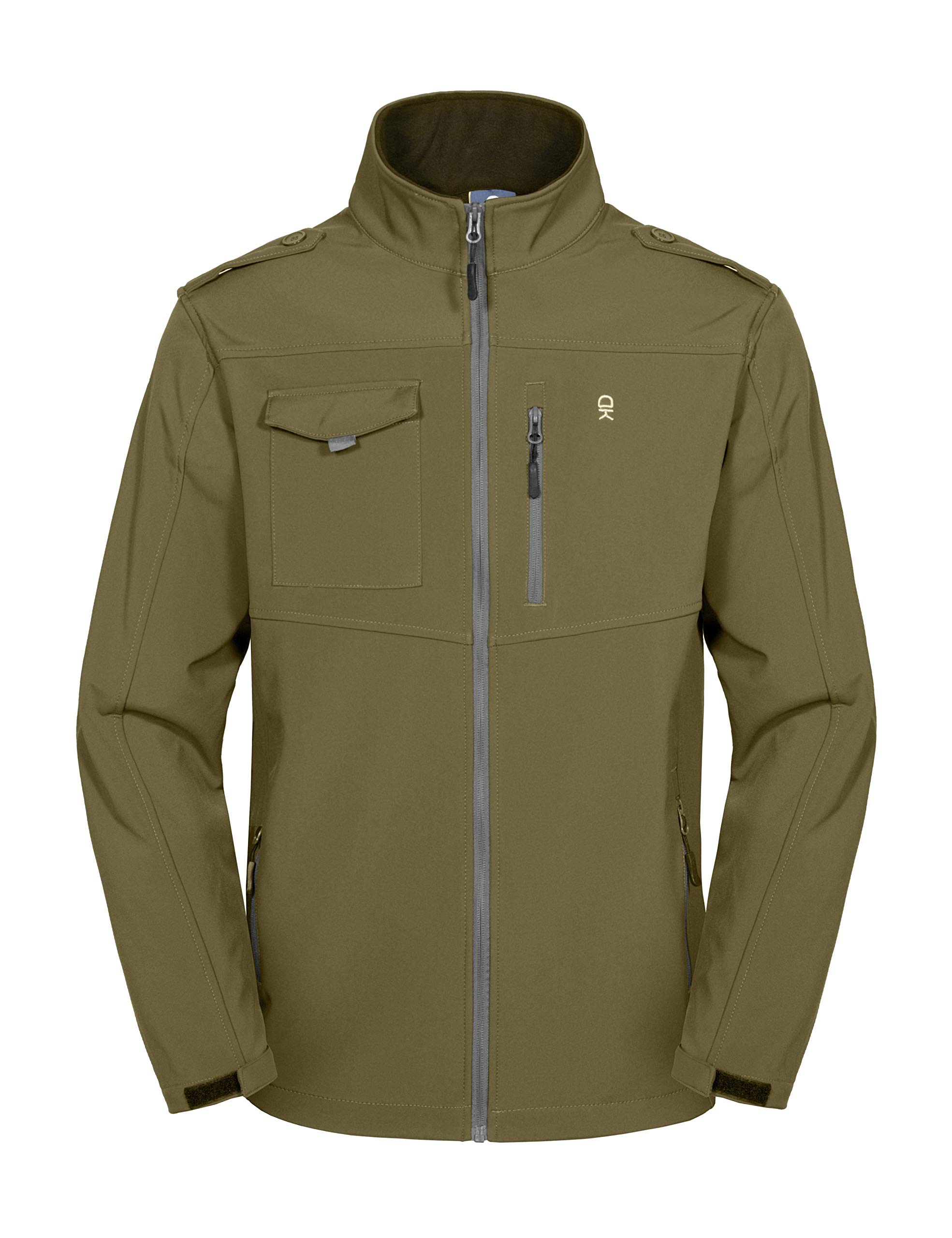 Little Donkey Andy Men's Fleece Lined Softshell Jacket, Lightweight Tactical Jacket, Water Repellent, Breathable Olive XL by Little Donkey Andy
