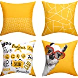"""Lewondr Linen Throw Pillow Case, Set of 4 Soft Breathable Wrinkle-resistant Pillowcase with Colorful Printed Pattern Decorative Cushion Cover Sham for Sofa Bed Seat 18""""x18""""(45x45cm), Golden Graffiti"""
