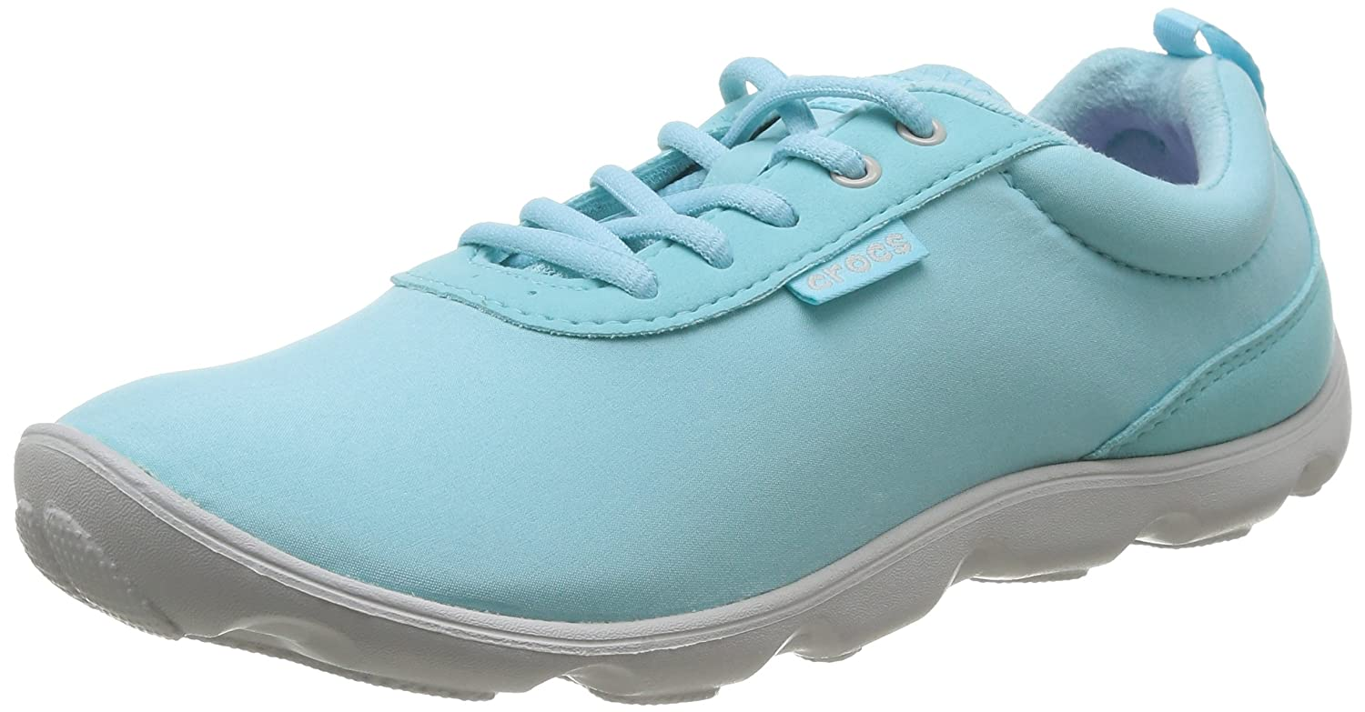 Crocs Womens Duet Busy Day Lace up Shoes B00Q8NOTX2 6 B(M) US|Ice Blue / Pearl White