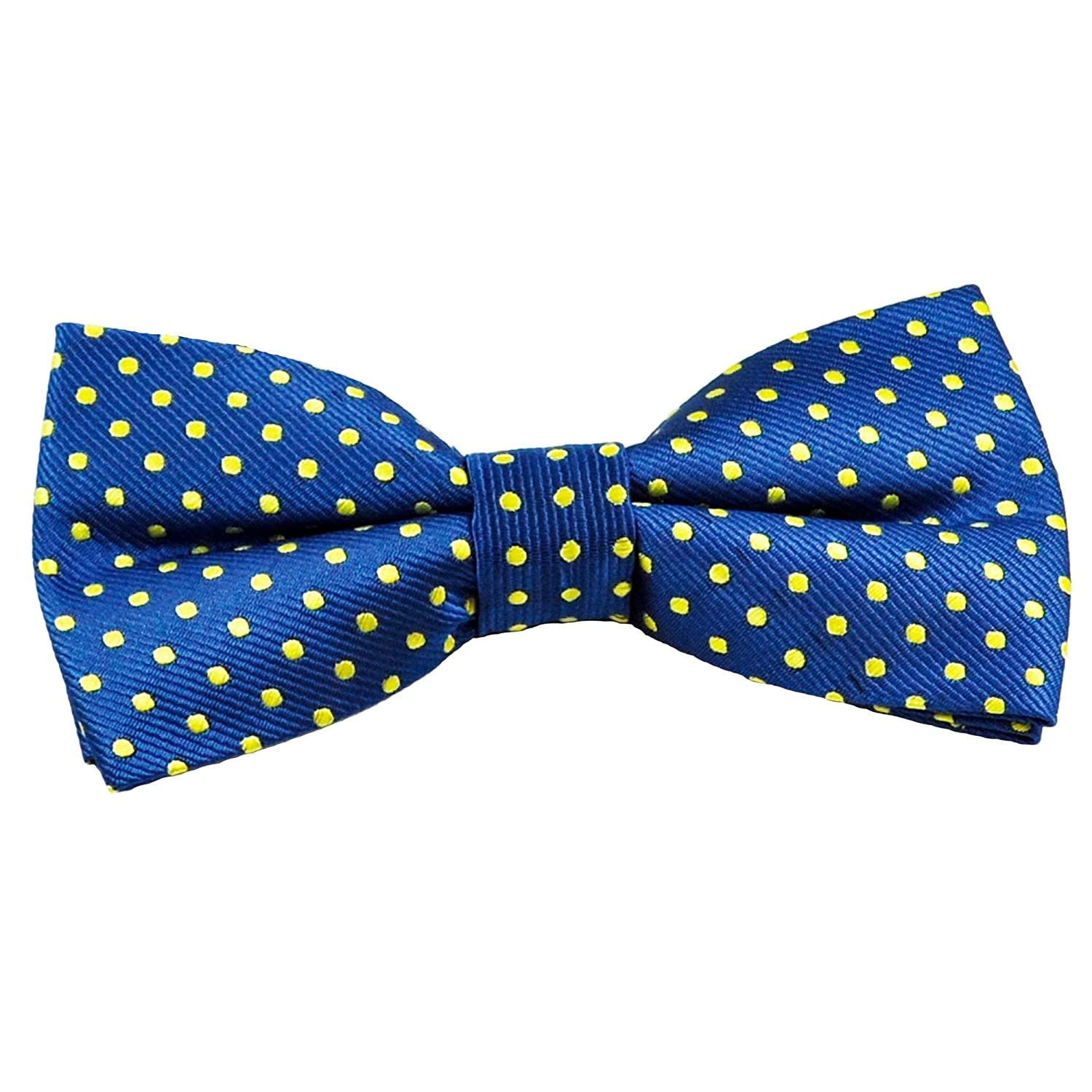 Royal Blue & Yellow Polka Dot Boys Bow Tie Ties Planet