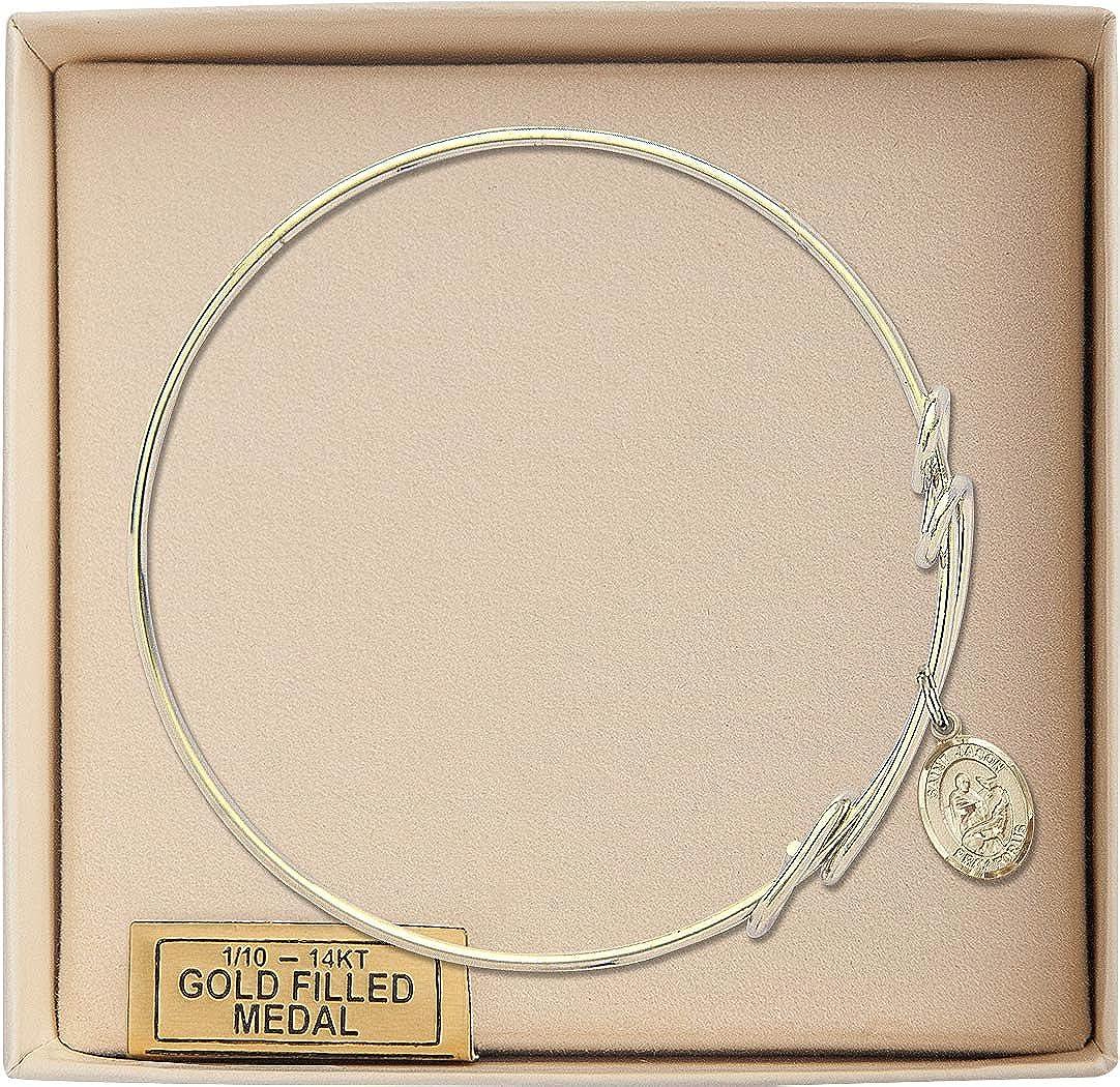 Jason Charm On A 8 1//2 Inch Round Double Loop Bangle Bracelet St
