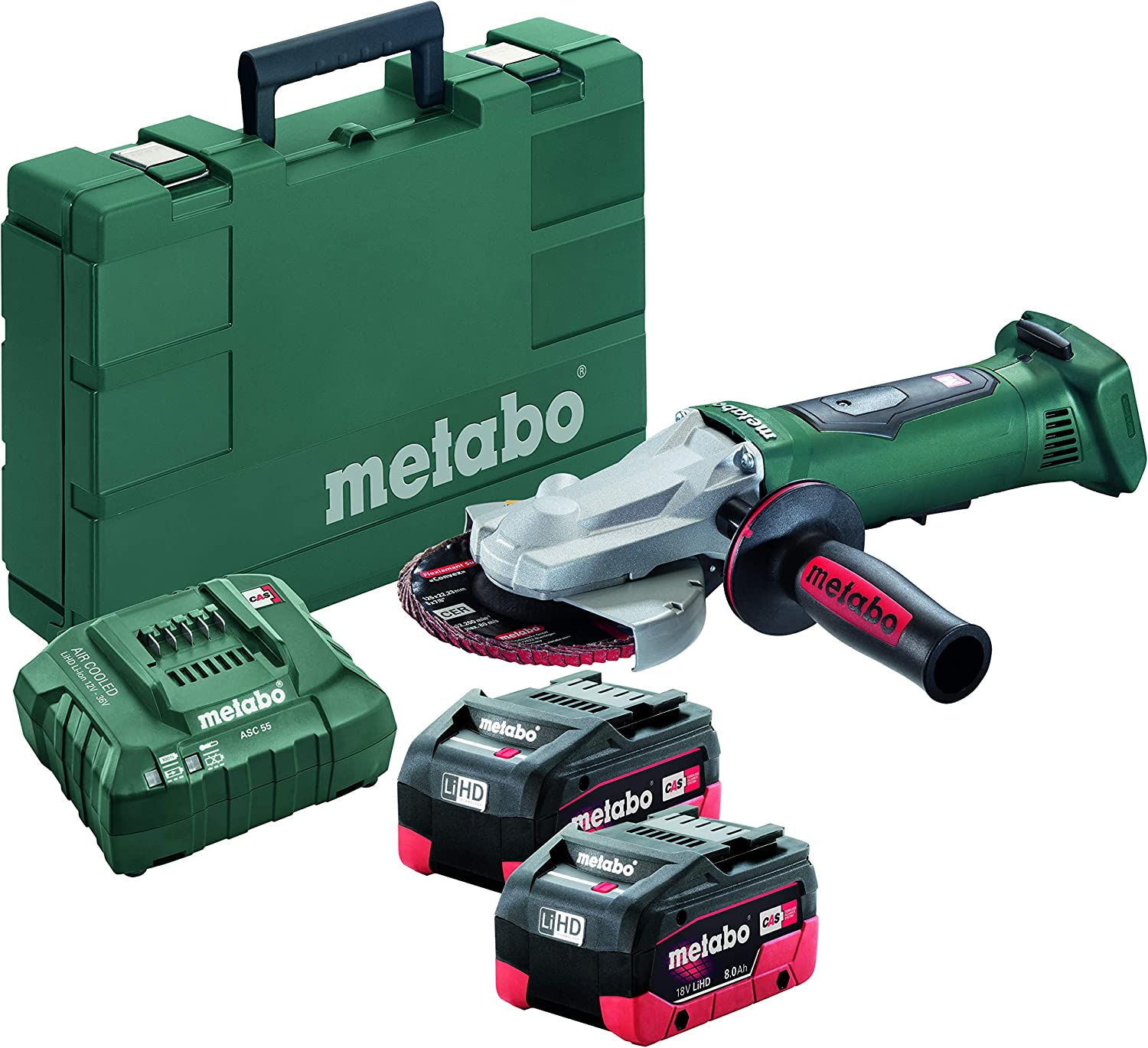 Metabo 18V 5 Flat Head Angle Grinder 6.2Ah Kit