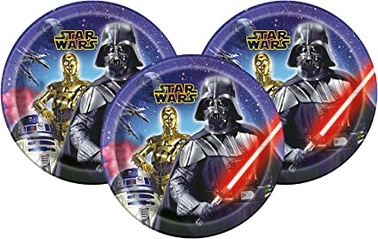 Amazon.com: Disney Star Wars Cena Platos de papel 9