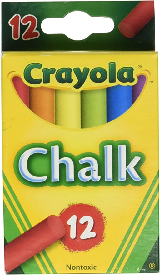 Crayola Chalk White /& Colored 12-Pack 1 Pack of White /& 1 Pack of Colored