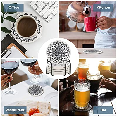 12 Designs, Set of 4 Drink Mug Cup Table Desk Coasters Cork Backed /& Silicone