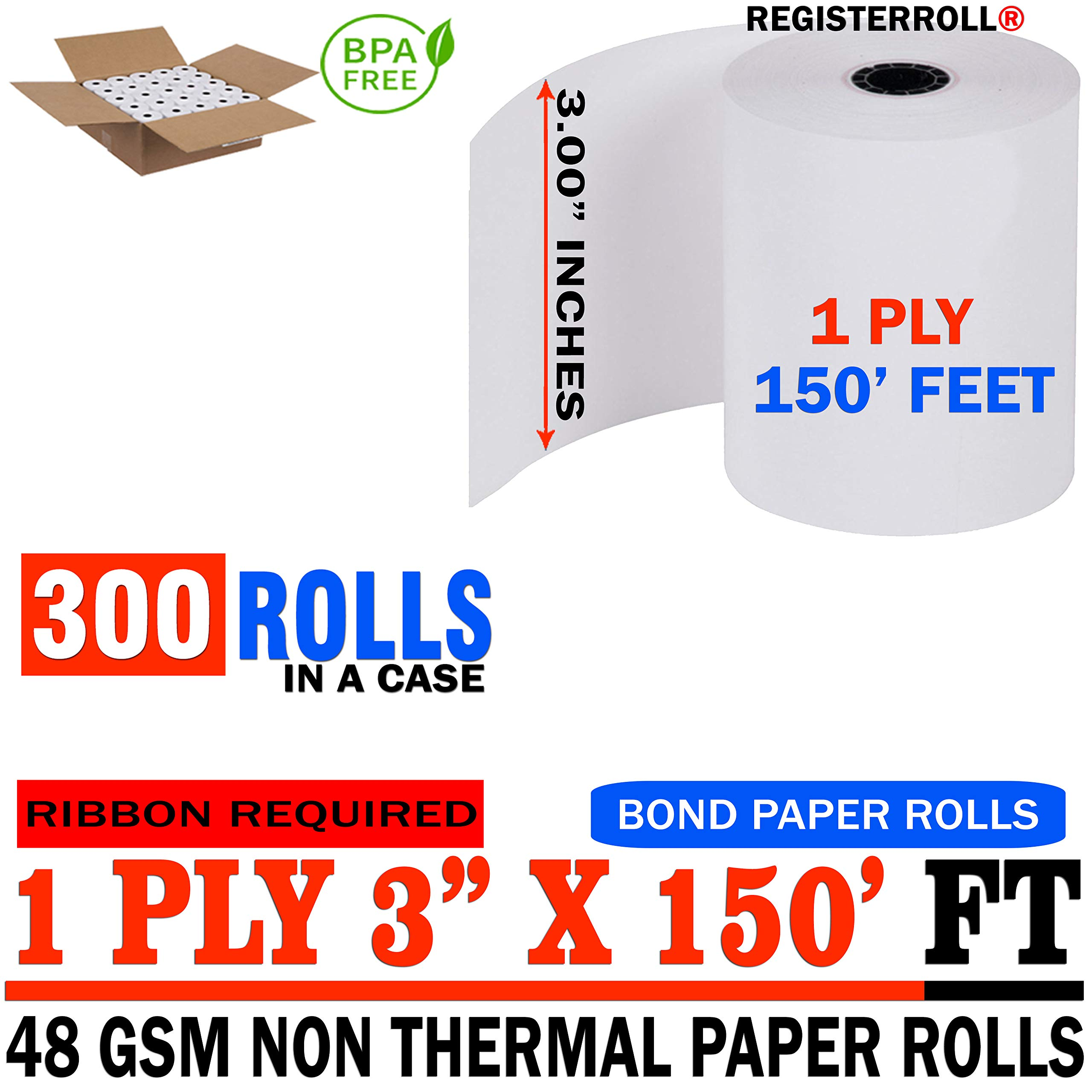 3'' x 150' 1-Ply Bond (300 Rolls), Works for Epson TM-U200B, Epson TM-U200D, Epson TM-U210, Epson TM-U220 - RegisterRoll Same Day (300 Rolls)