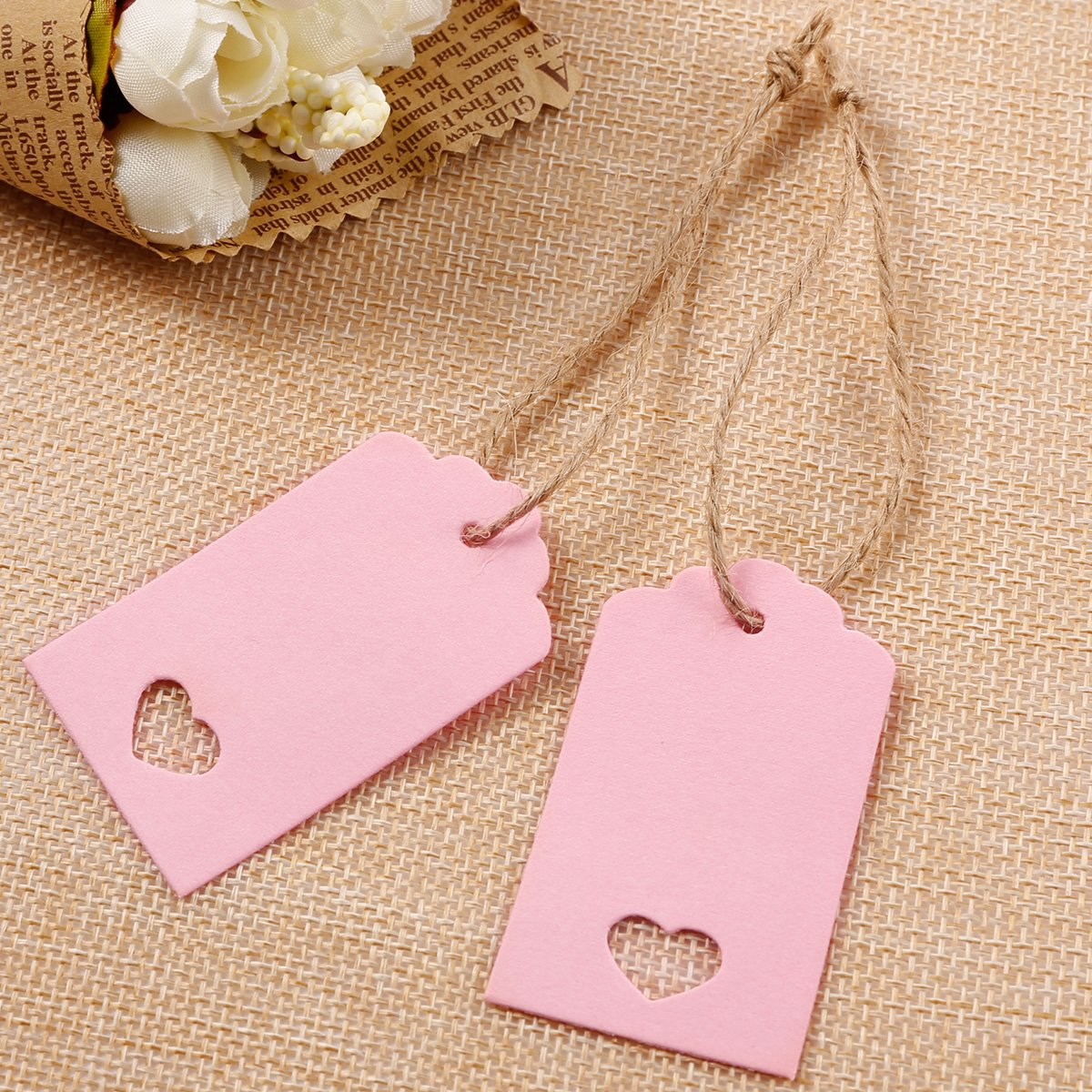 Amazon.com: Anladia Rectangle Blank Hanging Card Gift Tag Lable ...