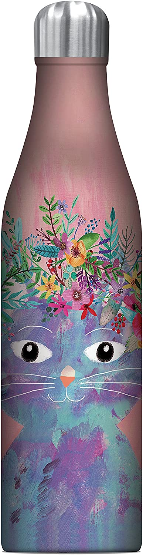 Studio Oh! 25 oz. Insulated Stainless Steel Water Bottle, Mia Charro Fancy Flower Cat