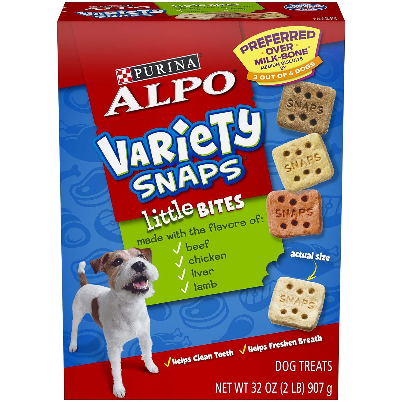 Purina ALPO Dog Treats, Variety Snaps Little Bites Beef, Chicken, Liver, Lamb – 4 32 oz. Boxes