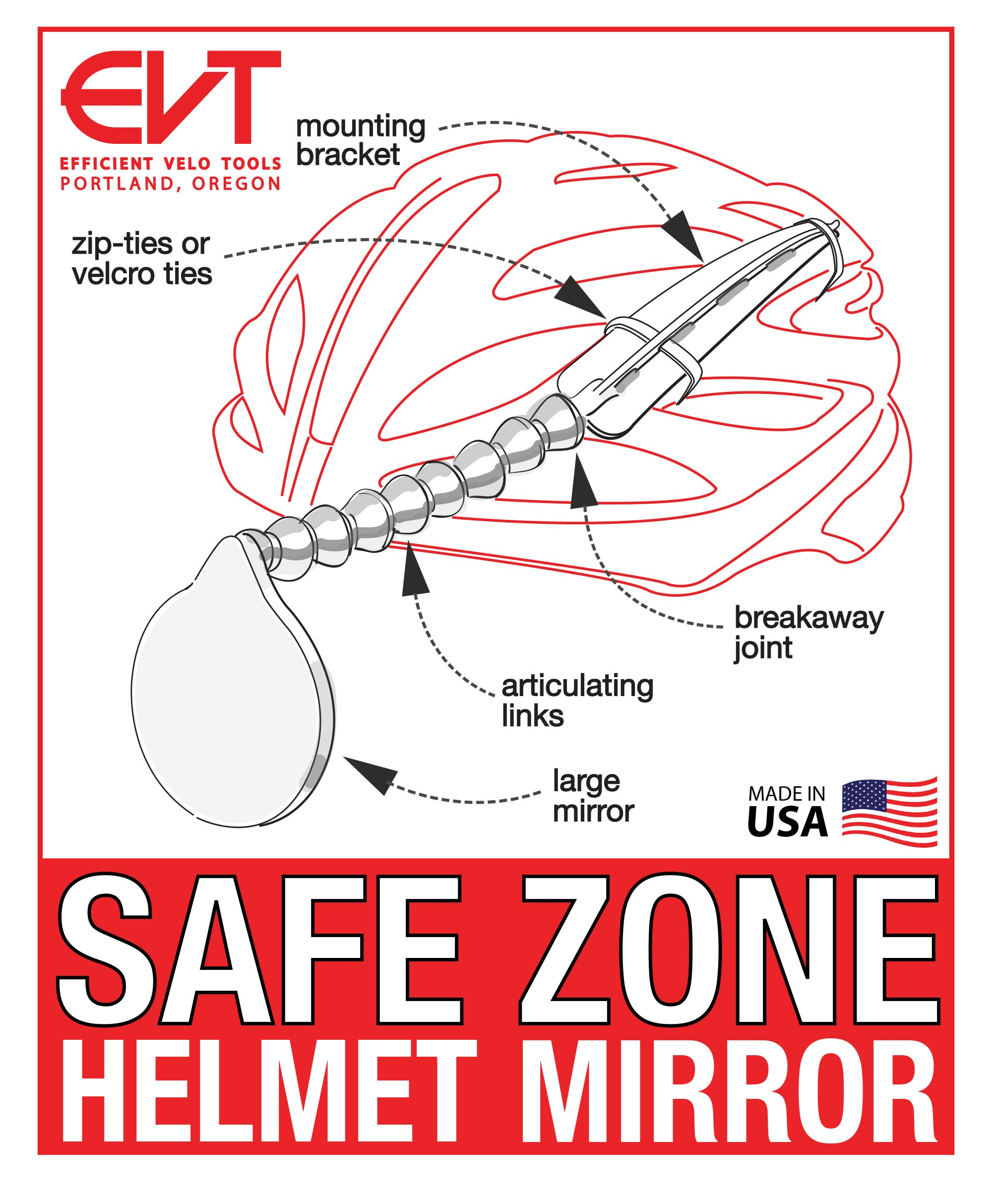 EVT Safe Zone Bicycle Helmet Mirror by by EVT (Image #6)