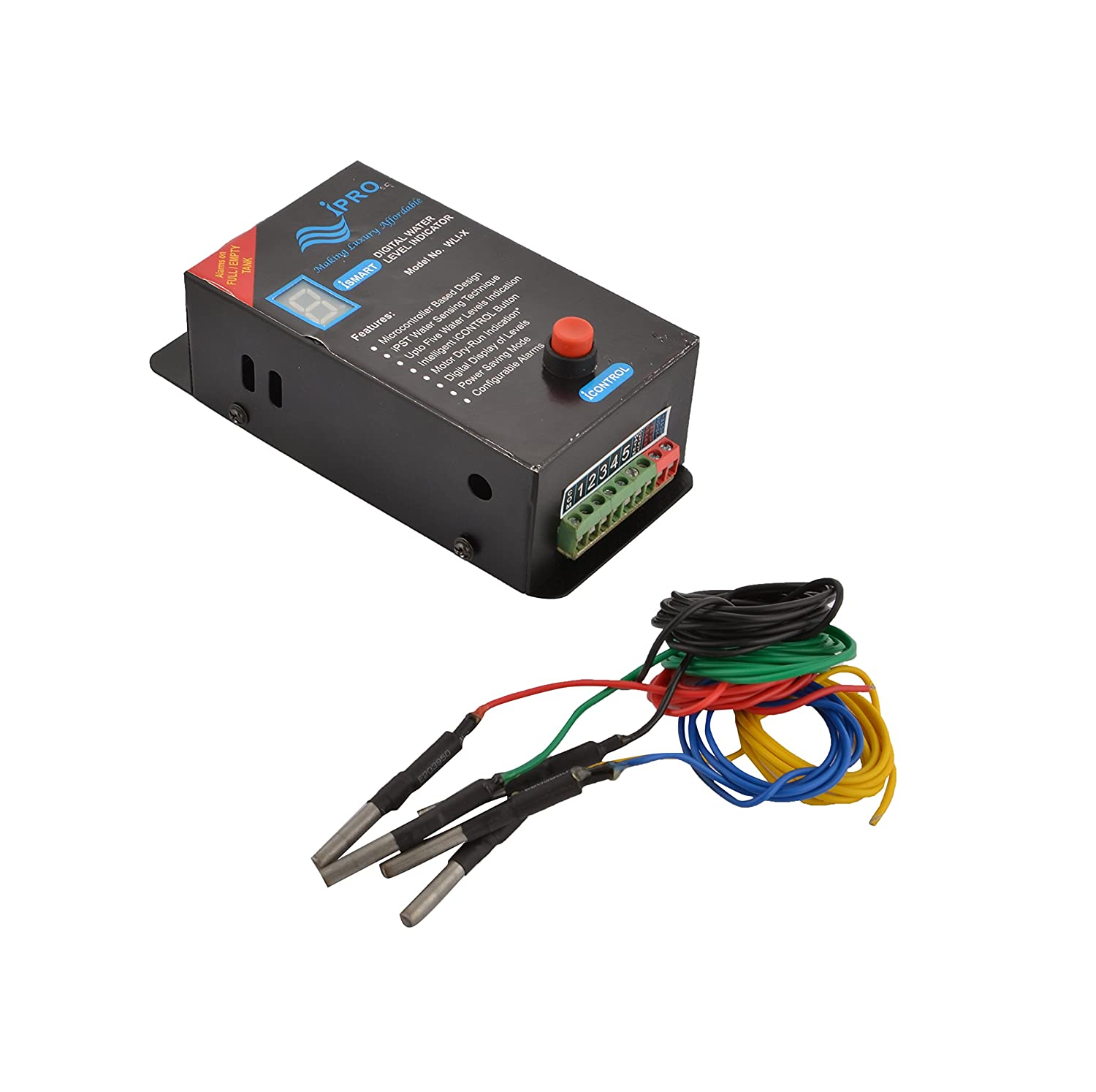 Buy Ipro Digital Ipst Water Level Indicator Alarms On 6 Electronic Circuit That Uses A 7segment Display Sensors Low Full Change Sensor Cleaning Not Required 16x7x5 Cm Black Online At
