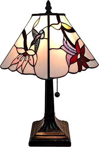 Amora Lighting Tiffany Style Mini Accent Lamp Mission 15″ Tall Stained Glass Pink Red Floral Hummingbird Vintage Antique Light D cor Nightstand Living Room Bedroom Office Gift AM211TL08B
