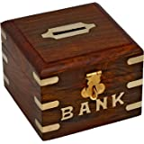 YADAV Handicrafts Safe Money Box Wooden Piggy Bank for Boys Girls and Adults (4 inch)