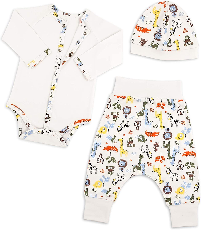 Bernisa Baby Boys' Girls' Unisex Design Newborn Outfit to 6 Months 3-Piece Cap Pant Long Sleeve Bodysuit