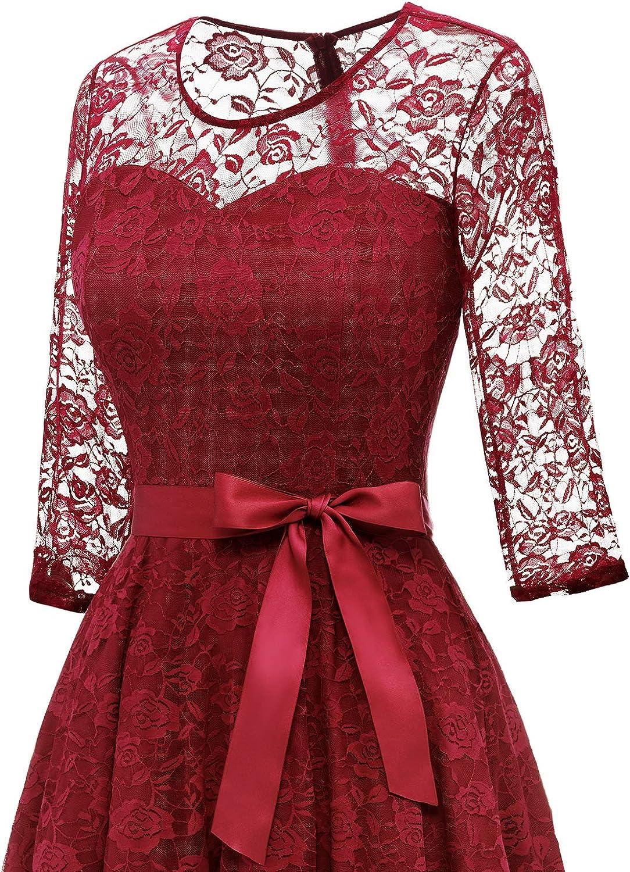 Dressystar Womens Elegant Floral Lace Dress 3//4 Sleeves Bridesmaid Midi Dresses Illusion Neckline