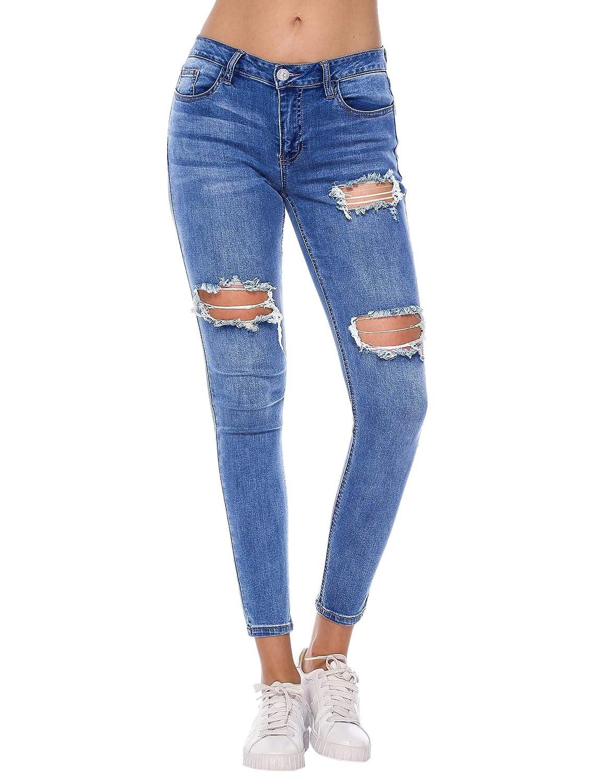 Resfeber Womens Boyfriend Jeans Comfy Stretch Ripped Jeans Distressed Denim Skinny Jeans